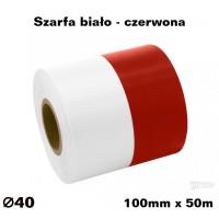 Szarfa biało - czerwona 100mm x 50mb KOLOROWA TAŚMA SATYNOWAPREMIUM