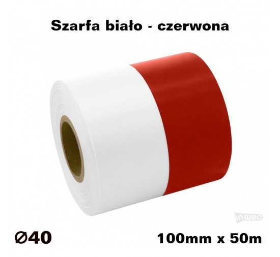 Szarfa biało - czerwona 100mm x 50mb