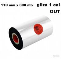 Taśma termotransferowa woskowo-żywiczna premium 110mm x 300mb OUT TAŚMY TERMOTRANSFEROWE