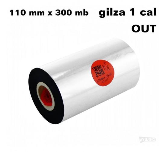 Taśma termotransferowa woskowo-żywiczna premium 110mm x 300mb OUT