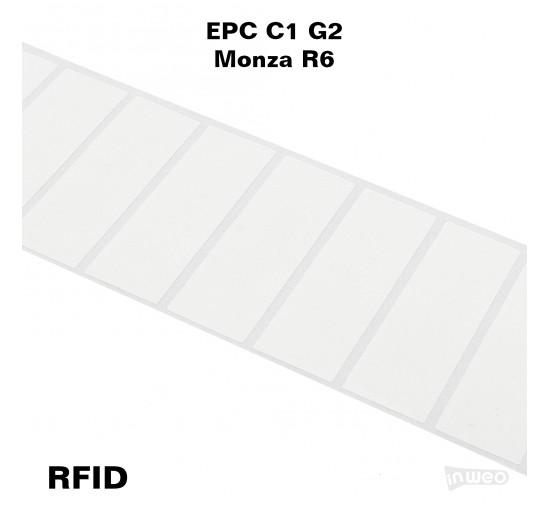 Foliowa samoprzylepna etykieta RFID do zadruku, 76 x 26, EPC C1 G2,  Monza R6
