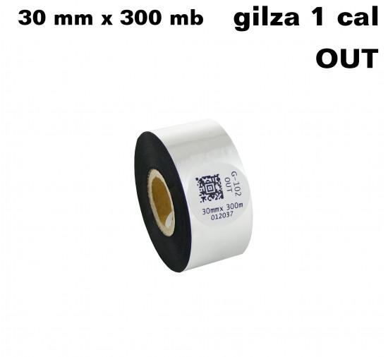 Taśma termotransferowa woskowa premium 30mm x 300mb OUT