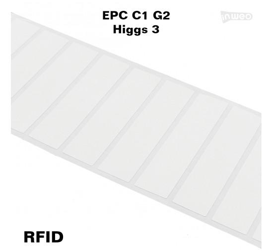 Foliowa samoprzylepna etykieta RFID na szybę, 96 x 22,  EPC C1 G2, Higgs 3