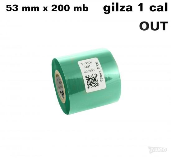 Zielona taśma termotransferowa żywiczna do tekstyliów 53x200 OUT