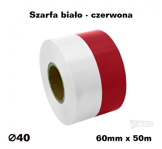 Szarfa biało - czerwona 60mm x 50mb KOLOROWA TAŚMA SATYNOWAPREMIUM