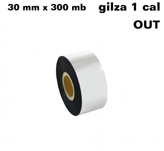 Taśma termotransferowa woskowa standard 30mm x 300mb OUT