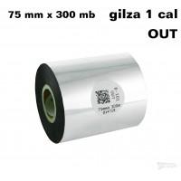 Taśma termotransferowa woskowa standard 75mm x 300mb OUT