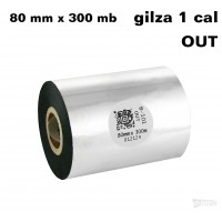 Taśma termotransferowa woskowa standard 80mm x 300mb OUT