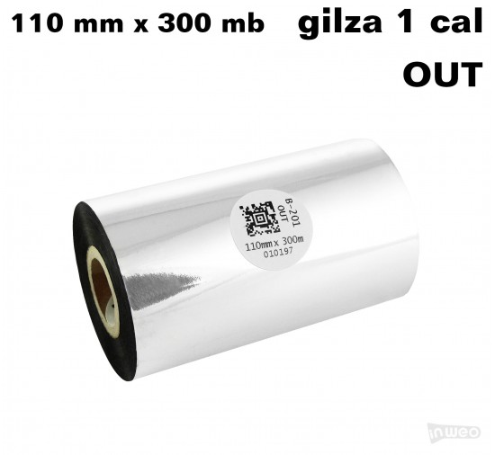 Taśma termotransferowa woskowo-żywiczna 110mm x 300mb OUT standard