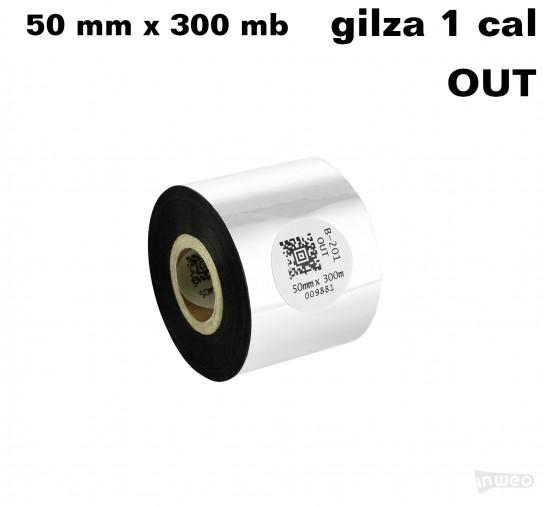 Taśma termotransferowa woskowo-żywiczna standard 50mm x 300mb OUT