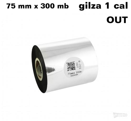 Taśma termotransferowa woskowo-żywiczna standard 75mm x 300mb OUT