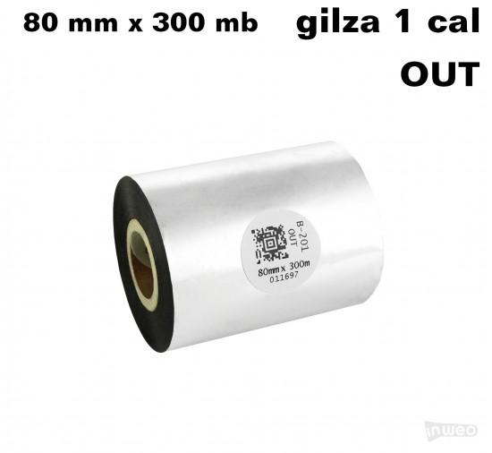 Taśma termotransferowa woskowo-żywiczna standard 80mm x 300mb OUT