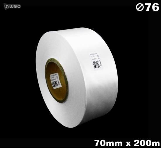 Biała taśma satynowa premium 70mm x 200mb