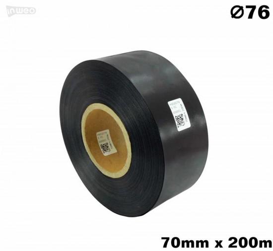 Czarna taśma satynowa premium 70mm x 200mb
