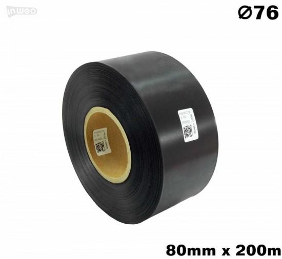 Czarna taśma satynowa premium 80mm x 200mb