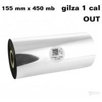 Taśma termotransferowa woskowa premium 155mm x 450mb OUT TAŚMY TERMOTRANSFEROWE