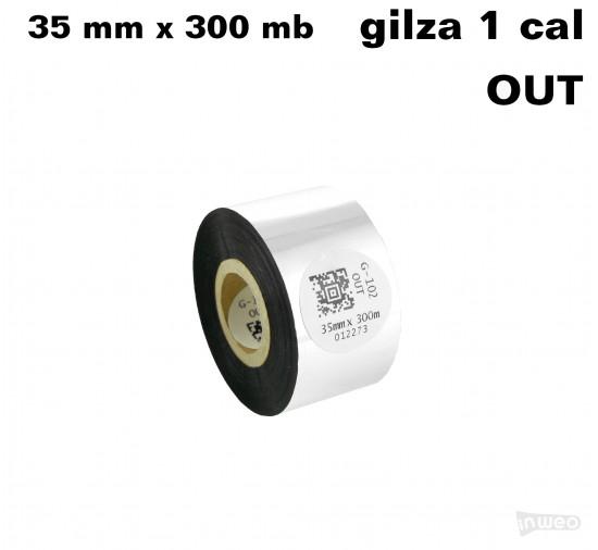 Taśma termotransferowa woskowa premium 35mm x 300mb OUT