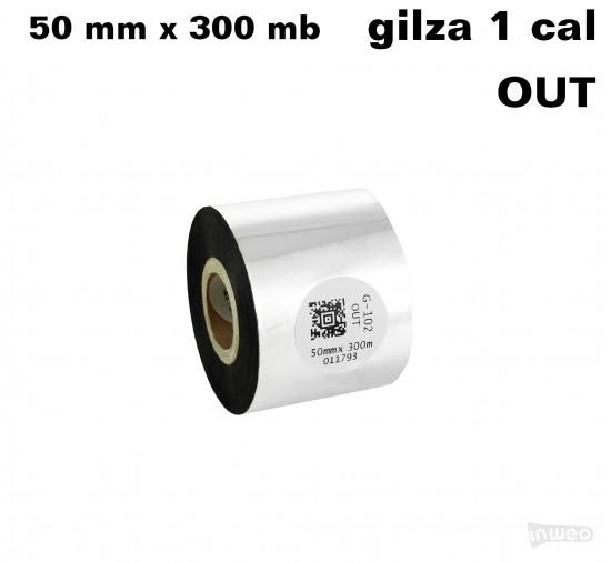 Taśma termotransferowa woskowa premium 50mm x 300mb OUT