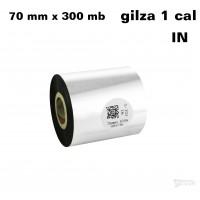 Taśma termotransferowa woskowa premium 70mm x 300mb IN TAŚMY TERMOTRANSFEROWE