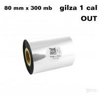 Taśma termotransferowa woskowa premium 80mm x 300mb OUT TAŚMY TERMOTRANSFEROWE