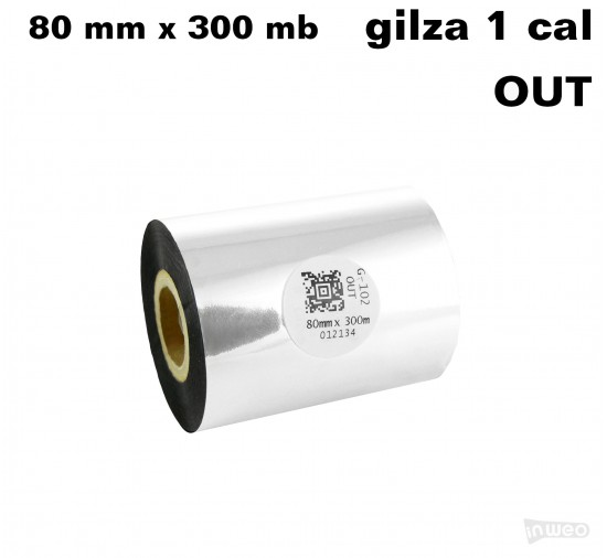 Taśma termotransferowa woskowa premium 80mm x 300mb OUT