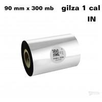 Taśma termotransferowa woskowa premium 90mm x 300mb IN TAŚMY TERMOTRANSFEROWE