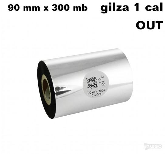 Taśma termotransferowa woskowa premium 90mm x 300mb OUT
