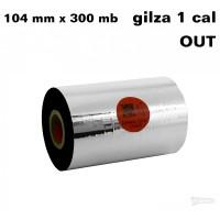 Taśma termotransferowa woskowo-żywiczna premium 104mm x 300mb OUT TAŚMY TERMOTRANSFEROWE