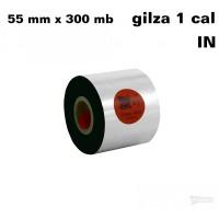 Taśma termotransferowa woskowo-żywiczna premium 55mm x 300mb IN TAŚMY TERMOTRANSFEROWE