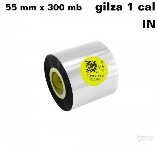 Taśma termotransferowa żywiczna do tekstyliów 55mm x 300mb IN