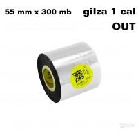 Taśma termotransferowa żywiczna do tekstyliów 55mm x 300mb OUT