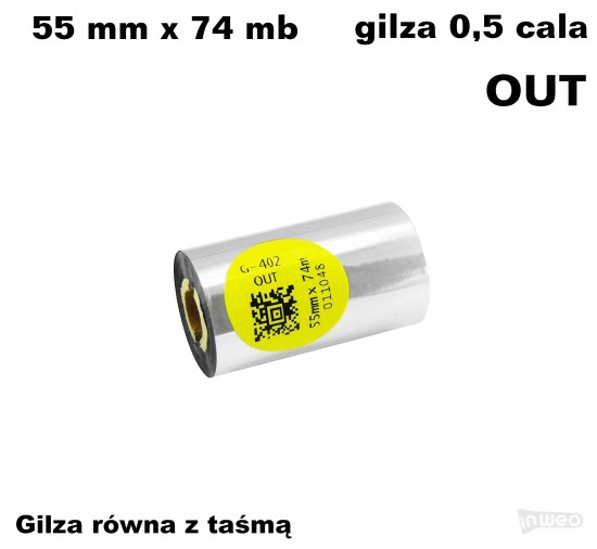Taśma termotransferowa żywiczna do tekstyliów 55mm x 74mb OUT