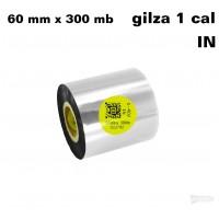 Taśma termotransferowa żywiczna do tekstyliów 60mm x 300mb IN