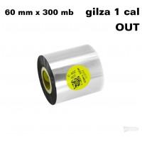 Taśma termotransferowa żywiczna do tekstyliów 60mm x 300mb OUT