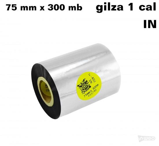 Taśma termotransferowa żywiczna do tekstyliów 75mm x 300mb IN