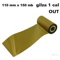 Taśma termotransferowa woskowa stare złoto 110x150 OUT