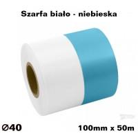 Szarfa biało - niebieska 100mmx50mb KOLOROWA TAŚMA SATYNOWAPREMIUM