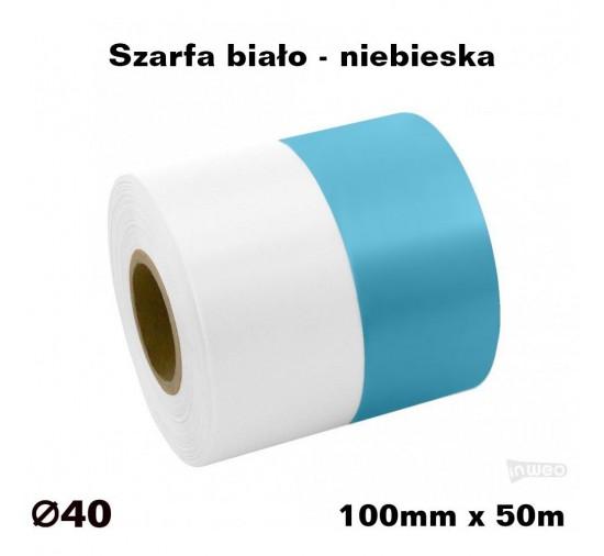 Szarfa biało - niebieska 100mmx50mb