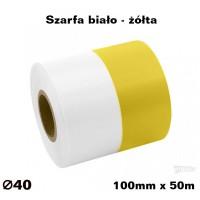 Szarfa biało - żółta 100mm x 50mb KOLOROWA TAŚMA SATYNOWAPREMIUM