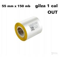 Taśma termotransferowa woskowa żółta 55x150 OUT TAŚMY TERMOTRANSFEROWE