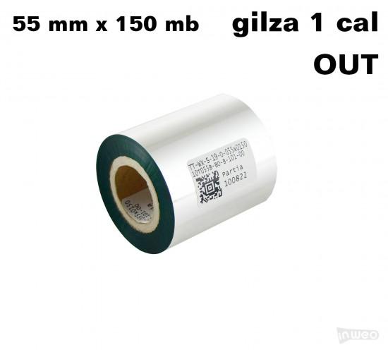 Zielona taśma termotransferowa woskowa 55x150 OUT