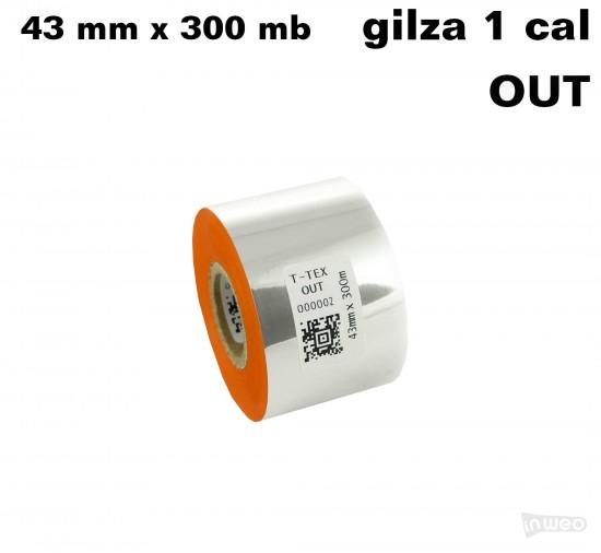 Pomarańczowa taśma termotransferowa żywiczna do tekstyliów 43x300 OUT