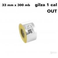 Żółta taśma termotransferowa żywiczna do tekstyliów 33x300 OUT Taśmy termotransferowe