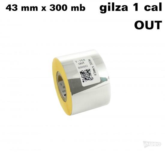 Żółta taśma termotransferowa żywiczna do tekstyliów 43x300 OUT