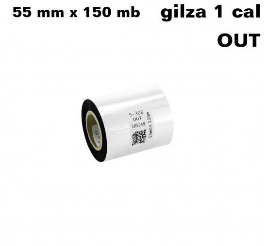Czarna taśma termotransferowa UV 55x150 OUT