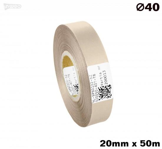 Beżowa taśma satynowa premium 20mm x 50mb