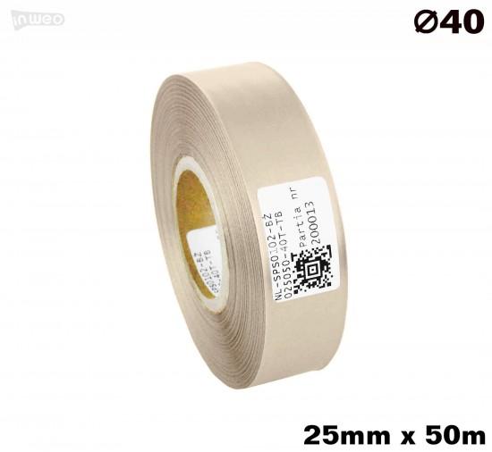 Beżowa taśma satynowa premium 25mm x 50mb