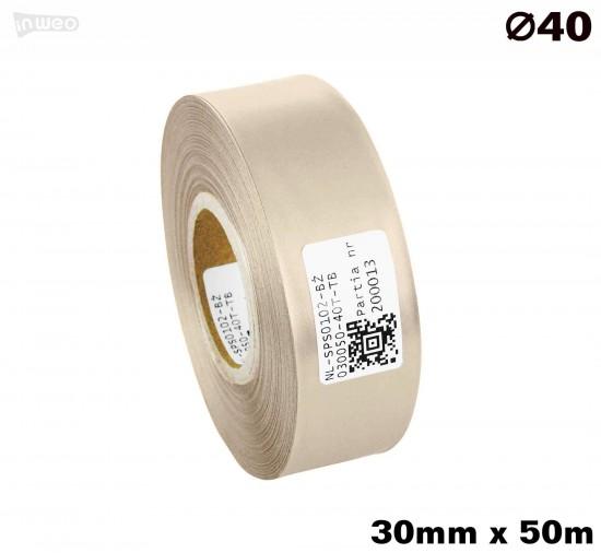 Beżowa taśma satynowa premium 30mm x 50mb