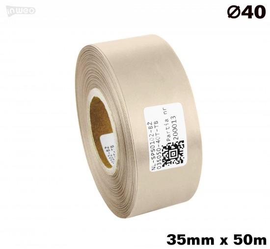 Beżowa taśma satynowa premium 35mm x 50mb
