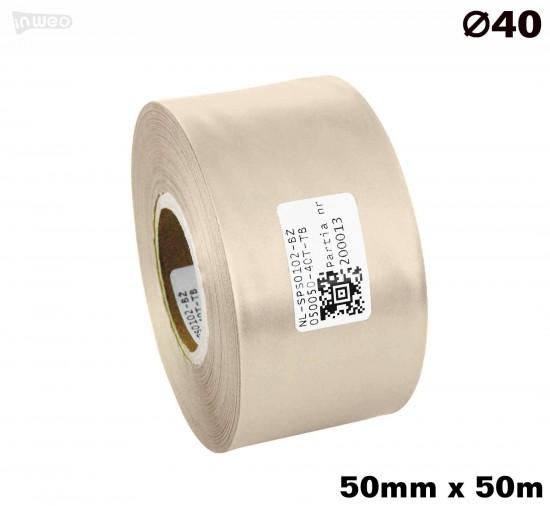 Beżowa taśma satynowa premium 50mm x 50mb